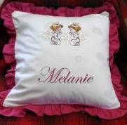 """Izšūts spilvens ar eņģeļiem """"Melanie"""""""